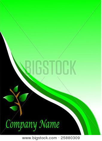 An environmental green business card or template with a floral leaf design