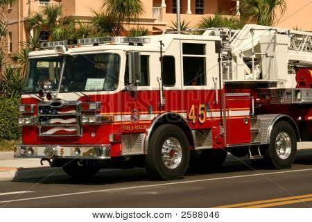 American Fire Engine Attending An Emergency Call