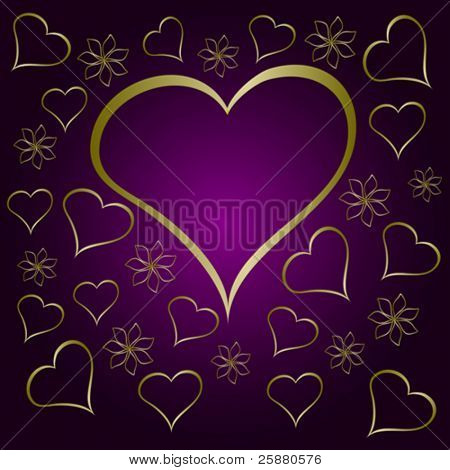 A  purple valentines vector illustration with a large  heart shaped frame surrounded by small gold hearts and flowers with room for text