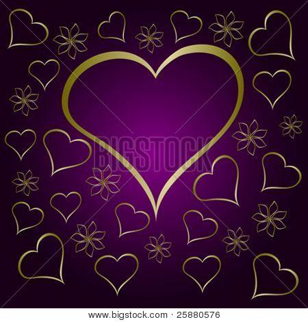 Una ilustración del vector de San Valentín púrpura con un marco en forma de corazón grande rodeado de pequeña h oro