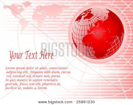 An abstract red vector background with a wire mesh globe on a pink striped base with room for text