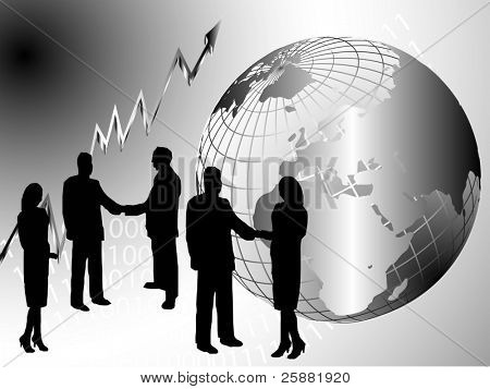 A vector illustration with a group of business people shaking hand in front of a silver wire mesh globe of the earth