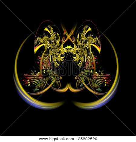 An abstract yellow and orange palm trees fractal background illustration on a black base with room for text