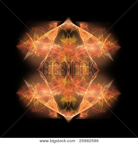 A abstract orange fractal background on a black base