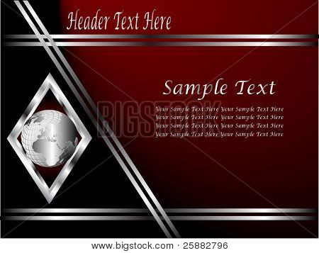 A deep red and Silver vector Business card or Background Template with a world globe enclosed by a silver diamond