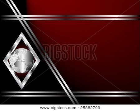 A deep red and Silver Business card or Background Template with a world globe enclosed by a silver diamond