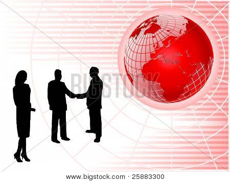 An abstract red vector background with a wiremesh globe on a pink striped base with sillhouetted business people with room for text