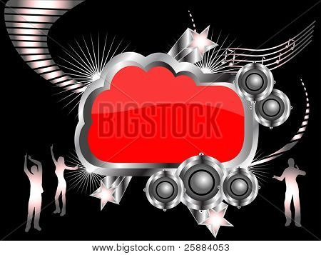 A vector musical background illustration with  large audio speakers on a black and silver backdrop with a graphic equalizer and silhouetted dancers, room for text