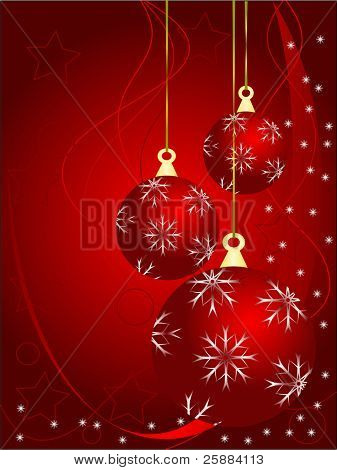 An abstract Christmas vector illustration with red baubles on a darker backdrop with white snowflakes and room for text