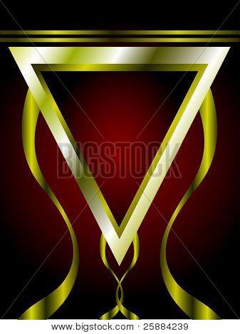 Un rojo intenso y tarjetas oro o plantilla de fondo