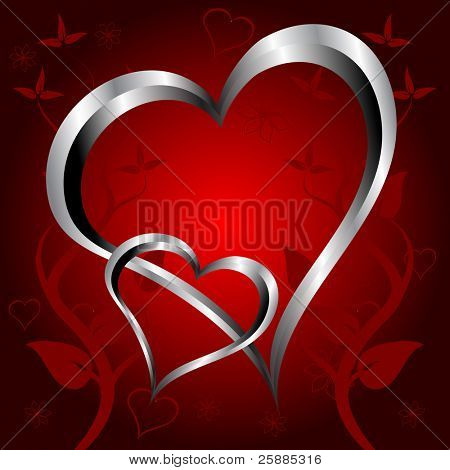 A red hearts Valentines Day Background with silver hearts on a red floral background background