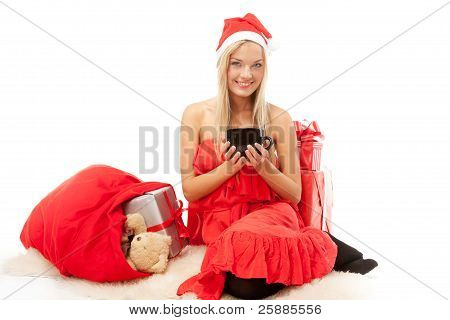 Attractive girl with christmas hat
