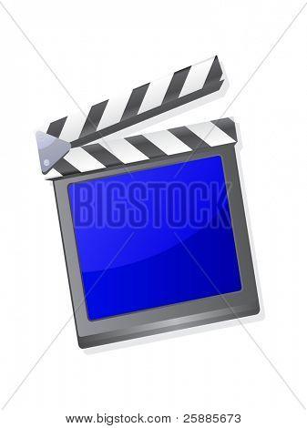 Una claqueta de cine con pantalla azul aislada en blanco