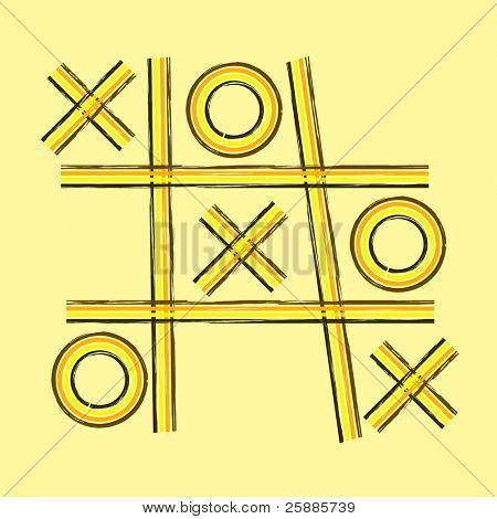 A grunge retro tic tac toe or noughts and crosses game board in shades of yellow orange and brown