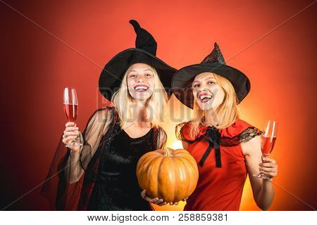 poster of Frightened Friends At A Halloween Party. Best Friends Girls Celebrates Halloween. Happy Brightful Po