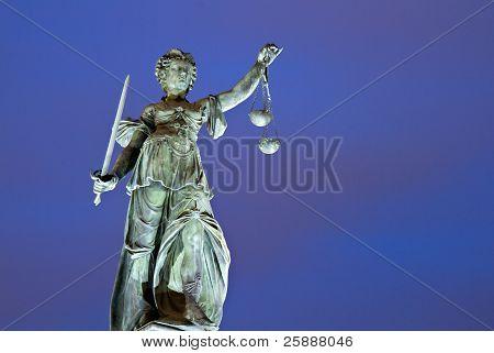 Illuminated Lady Justice