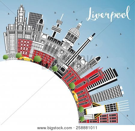 Liverpool England City Skyline with