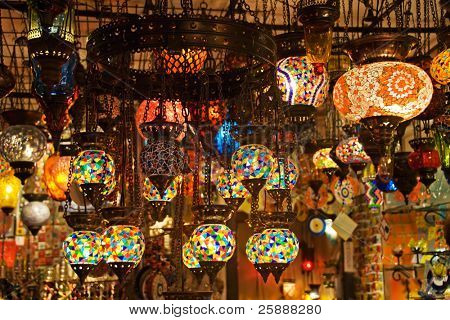 Authentic Turkish Lamps in Shop