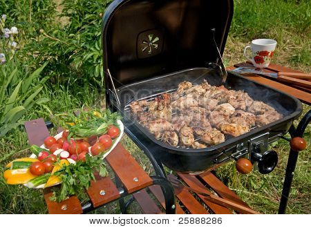 Grilled Meat & Vegetables on Barbecue