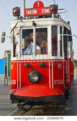 Typical Vintage Train in streets of Istanbul