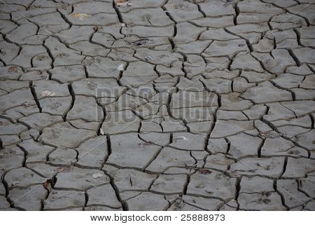 Global warming concept of arid cracked ground - dry gray mud background texture