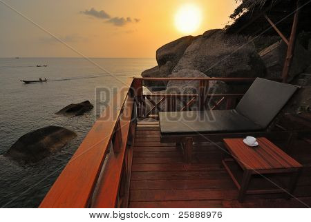 Exotic Beach Bed at Sunset