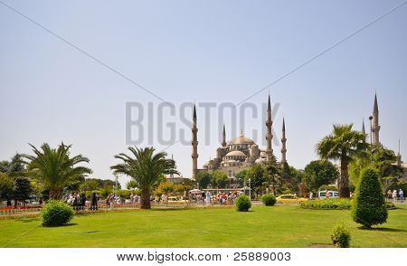 Blue Mosque of Istanbul at Bright Day