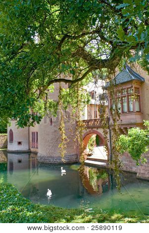 Beautiful old castle surrounded by a mote  in a romantic setting
