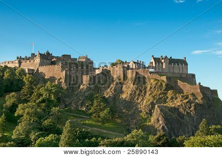 Edinburgh Castle (UK) on a clear sunny day