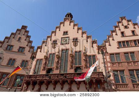 Historical Romer Square  (Römerplatz/ Roemerplatz)  in the city of Frankfurt on Main, Germany