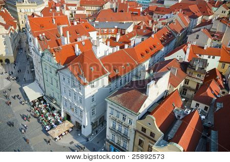 Prague, view from a tower on Old Town Square, Czech Republic