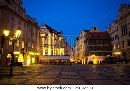Staromestska Square and street cafes at night; Prague, Czech Republic