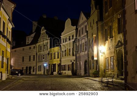 Beautiful night view of a street, Cesky Krumlov, Czech Republic