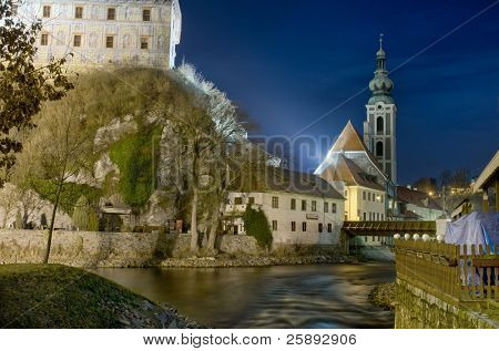 Cesky Krumlov Castle at night, Czech Republic