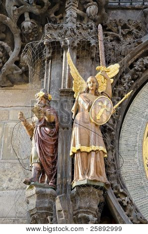 Statue on the left side of the astronomical clock in Prague, Czech republic