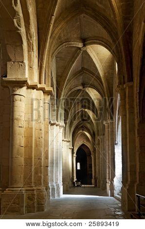 Interior ceiling and columns of old cathedral, Europe
