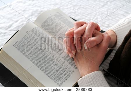 Woman'S Hands And The Bible