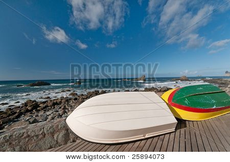 Boats near the shore.Keels are facing upwards at the end of the season, Tenerife, Spain