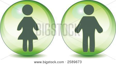 Man Woman Toilet Signs On Green Globe