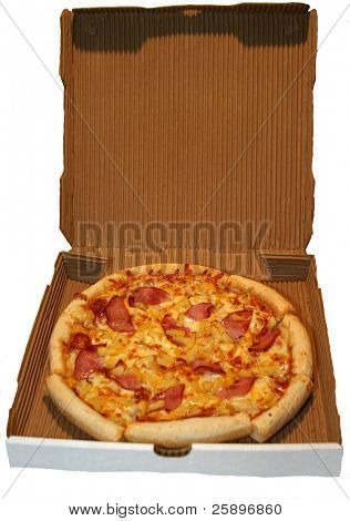 canadian beacon and pineapple pizza in its delivery box isolated on white