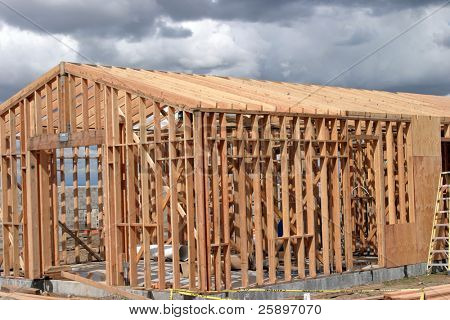 wood framing of new home construction