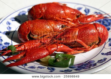 Boiled Craw fish in a chinese resturant