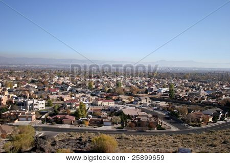 View of Santa Fe New Mexico homes and land
