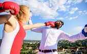 Let Her Win Concept. Couple Boxing Gloves Fight Sky Background. Girl Confident Strength Power. Leade poster