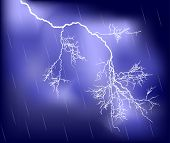 stock photo of lightning bolt  - illustration with bright lightning in lilac sky - JPG