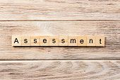 Assessment Word Written On Wood Block. Assessment Text On Table, Concept. poster