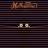 Big Eye Peer Through Curtain.happy Halloween Vector Banner Calligraphy.halloween Trick Or Treat Part poster