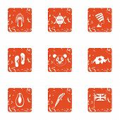 Far East Trip Icons Set. Grunge Set Of 9 Far East Trip Icons For Web Isolated On White Background poster