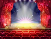 Open Red Curtain And Empty Illuminated Theatrical Stage With Falling Sparks, Confetti Realistic . Gr poster