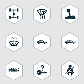 Automobile Icons Set With Auto Hood, Chassis, Not Key And Other Crossover Elements. Isolated Vector  poster
